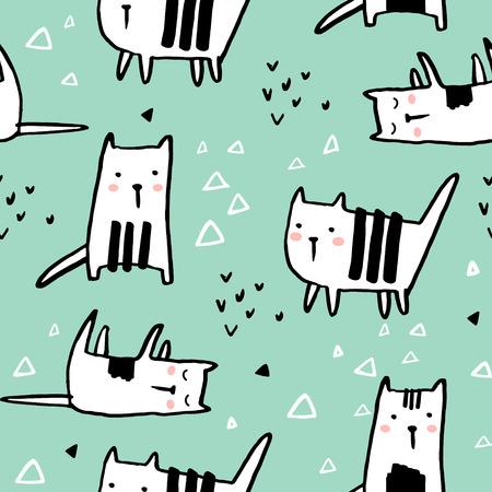 Cute hand drawn kitten pattern.