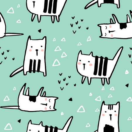 Cute hand drawn kitten pattern.