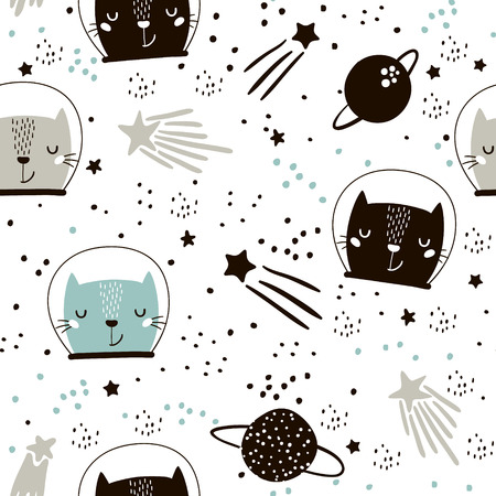 Cute hand drawn kitten in space pattern.  イラスト・ベクター素材