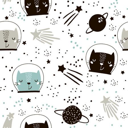 Cute hand drawn kitten in space pattern. Illustration
