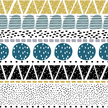 Cute hand drawn shapes pattern.