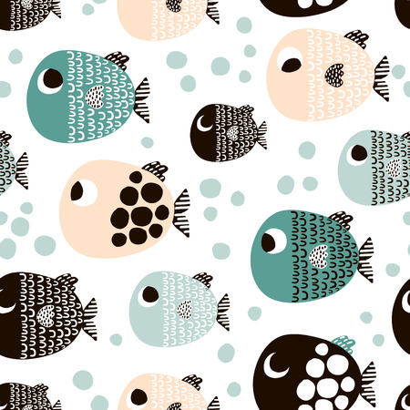 Cute hand drawn fishes pattern. Banco de Imagens - 89318585