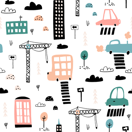 Cute hand drawn city pattern.