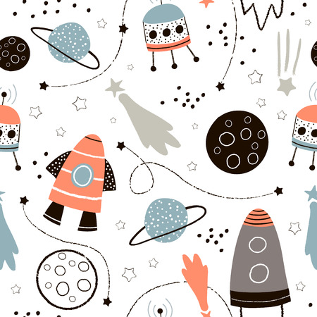 Cute hand drawn space pattern. Stok Fotoğraf - 89318600