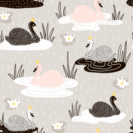Cute hand drawn swan pattern.