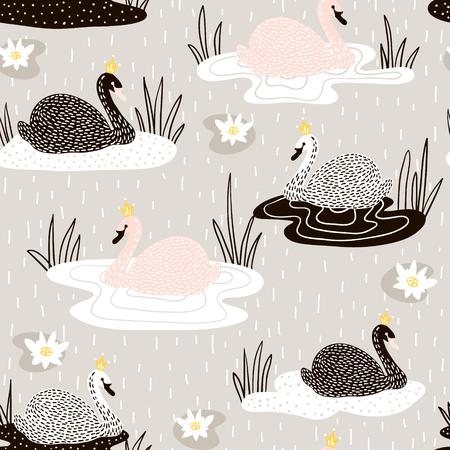 Cute hand drawn swan pattern.