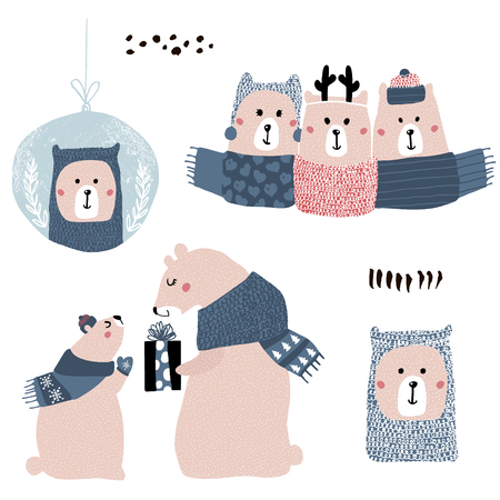 Cute cartoon bear winter collection. Christmas adorable clip art with polar bears in hats and scarves isolated. Vector Illustration