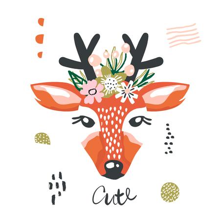 머리에 꽃과 귀여운 만화 사슴 소녀입니다. 종묘장, 어린이 의류, 포스터, 엽서를위한 어린 프린트. 벡터 일러스트 레이션