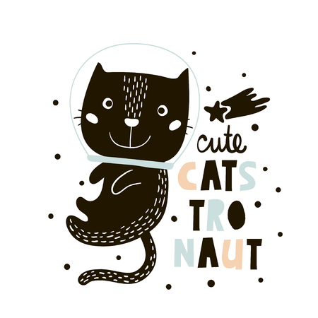 Cute cat in space print. Childish vector illustration in scandinavian style. Perfect for kids and baby apparel design, wall art, poster