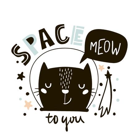 귀여운 고양이 공간 인쇄합니다. 스 칸디 나 비아 스타일에서 유치 한 벡터 일러스트 레이 션. 어린이 및 아기 의류 디자인, 벽 예술, 포스터에 완벽한