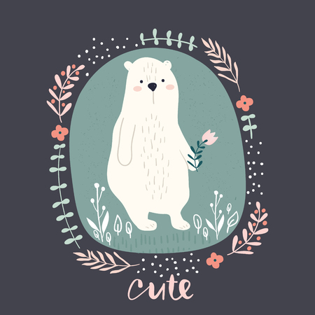 Cute cartoon bear in floral wreath. Childish print for nursery, kids apparel,poster, postcard. Vector Illustration  イラスト・ベクター素材