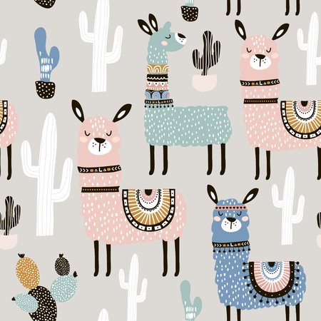 Seamless pattern with llama, cactus and hand drawn elements. Creative childish texture. Great for fabric, textile.
