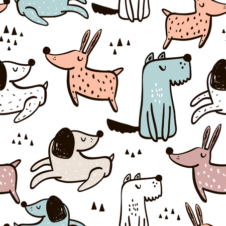 手で幼稚なシームレス パターンには、犬が描かれています。トレンディなスカンジナビアのベクトルの背景。子供衣料品、生地、繊維、保育所の装飾、包装紙に最適です。 写真素材 - 90867551