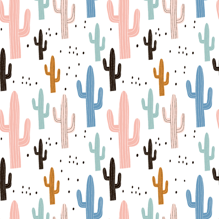 Seamless pattern with cactus and hand drawn textures. Perfect for fabric, textile. Vector pastel background. Ilustracja