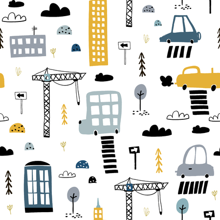 Seamless pattern with hand drawn city print. Cartoon skyscraper, cars, road sign, zebra crossing. Perfect for kids fabric, textile, nursery wallpaper.