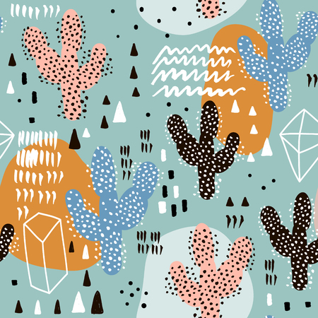 Seamless pattern with cactus and hand drawn textures. Perfect for fabric, textile. Vector pastel background.  イラスト・ベクター素材