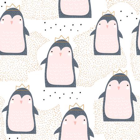 Modèle sans couture avec princesse pingouin mignon en couronne et éléments dessinés à la main. Texture enfantine créative. Idéal pour le tissu, le textile.
