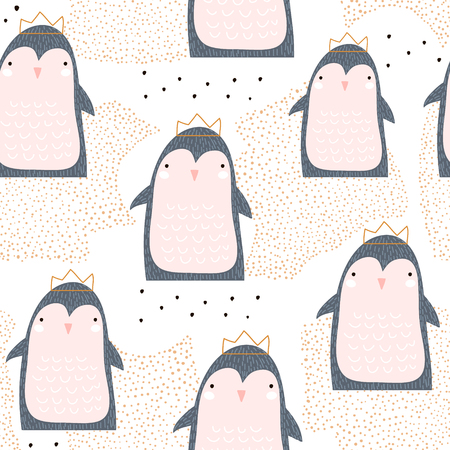 Seamless pattern with cute penguin princess in crown and hand drawn elements. Creative childish texture. Great for fabric, textile. Illustration
