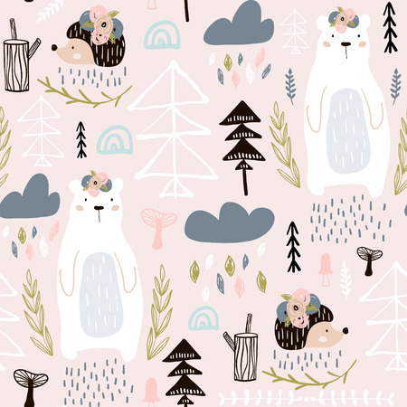 Seamless pattern with bear, floral elements, branches, hedgehog. Creative forest height detailed background. Perfect for kids apparel, fabric, textile, nursery decoration, wrapping paper. Illustration