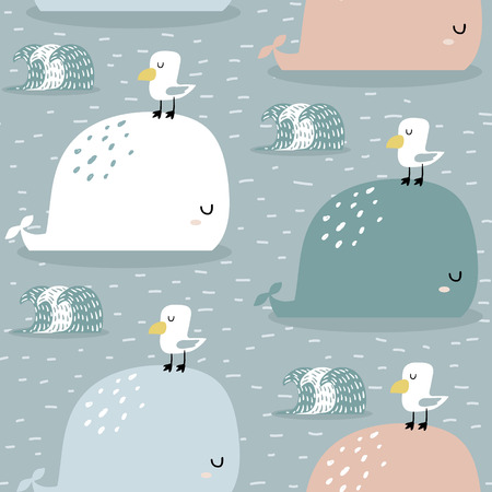 Seamless pattern with whale and gull. Childish texture for fabric, textile, apparel. 일러스트