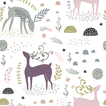 Seamless pattern with deer, floral elements, branches. Creative woodland background. Perfect for kids apparel, fabric, textile, nursery decoration, wrapping paper.