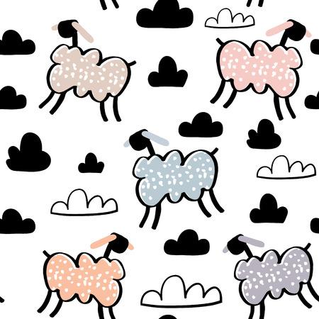 手で幼稚なシームレス パターンには、羊が描かれています。トレンディなスカンジナビアのベクトルの背景。子供衣料品、生地、繊維、保育所の装  イラスト・ベクター素材