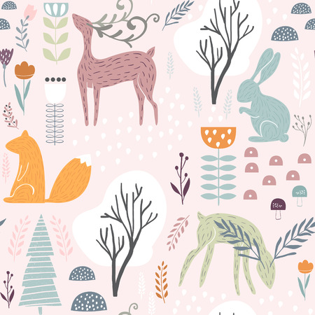 Seamless pattern with bunny, squirrel, deer. Creative woodland height detailed background. Perfect for kids apparel, fabric, textile, nursery decoration, wrapping paper. 矢量图像