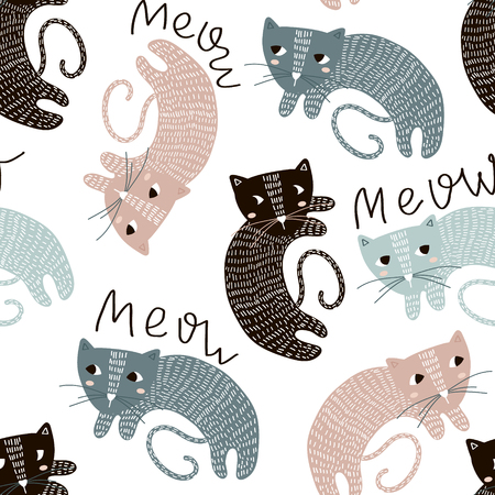Childish seamless pattern with cute artistic cats. Trendy Scandinavian vector background. Perfect for kids apparel, fabric, textile, nursery decoration, wrapping paper.