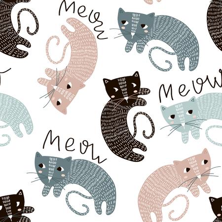 Kinderachtig naadloos patroon met leuke artistieke katten. Trendy Scandinavische vector achtergrond. Perfect voor kinderkleding, stof, textiel, kinderkamerdecoratie, inpakpapier.