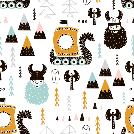 Childish seamless pattern with vikings. Trendy Scandinavian vector background. Perfect for kids apparel, fabric, textile, nursery decoration, wrapping paper.