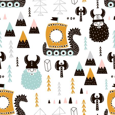 Kinderachtig naadloos patroon met Vikingen. Trendy Scandinavische vector achtergrond. Perfect voor kinderkleding, stoffen, textiel, kinderkamerdecoratie, inpakpapier.