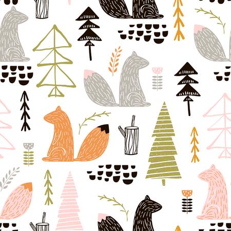 다람쥐, 나무와 원활한 패턴입니다. 크리 에이 티브 삼림 높이 자세한 배경. 아동복, 천, 섬유, 보육 장식, 포장지에 적합합니다.