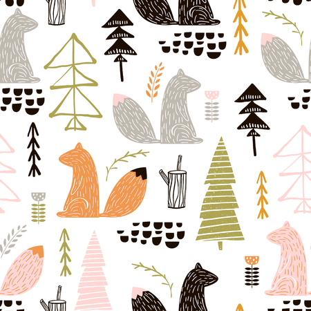 Seamless pattern with squirrel, trees. Creative woodland height detailed background. Perfect for kids apparel, fabric, textile, nursery decoration, wrapping paper. Vettoriali