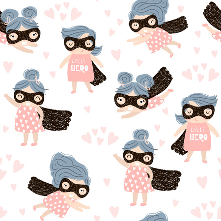 Seamless childish pattern with cute little girl hero. Creative nursery background. Perfect for kids design, fabric, wrapping, wallpaper, textile, apparel.