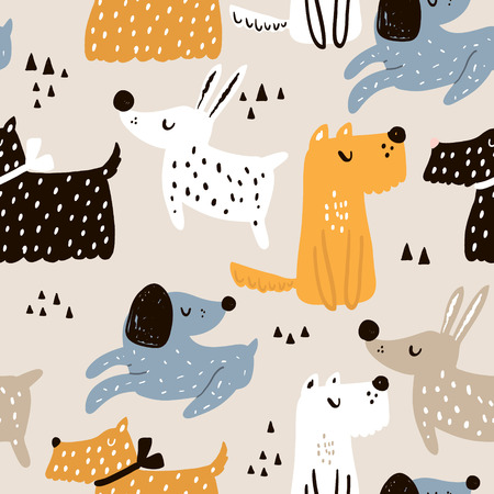 Childish seamless pattern with hand drawn dogs. Trendy Scandinavian vector background. Perfect for kids apparel, fabric, textile, nursery decoration, wrapping paper. Ilustração