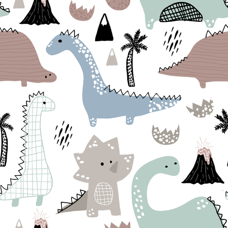 Childish seamless pattern with hand drawn dinosaur in Scandinavian style. Creative vector childish background for fabric, textile.