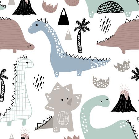 Kindisches nahtloses Muster mit Hand gezeichnetem Dinosaurier in der skandinavischen Art. Kindischer Hintergrund des kreativen Vektors für Gewebe, Gewebe. Vektorgrafik