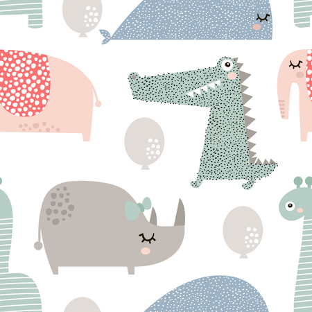 Seamless pattern with rhinoceros, elephant, crocodile, whale. Creative bay animals background. Perfect for kids apparel, fabric, textile, nursery decoration, wrapping paper. Banco de Imagens - 90867909