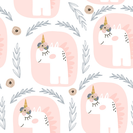 Cute seamless pattern with fairy unicorns. Childish texture for fabric, textile. Scandinavian style, vector Illustration.