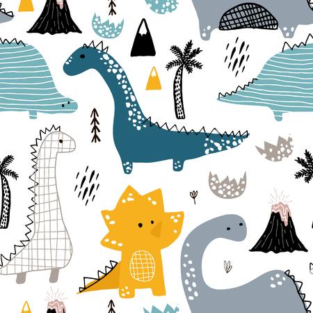 手で幼稚なシームレスなパターンは、北欧風の恐竜を描画します。創造的なベクトル、ファブリックの幼稚な背景繊維。