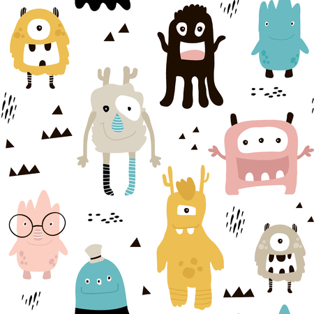Childish seamless pattern with cute monsters. Trendy Scandinavian vector background. Perfect for kids apparel, fabric, textile, nursery decoration, wrapping paper.