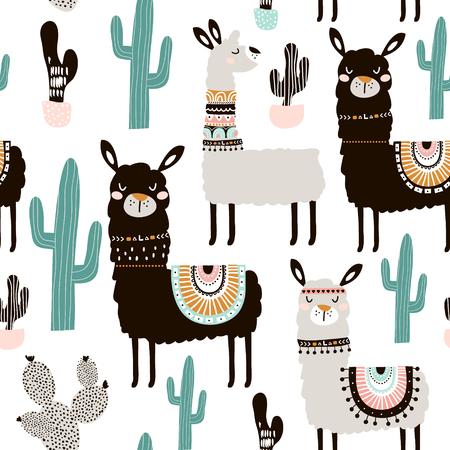 Padrão sem costura com elementos de lhama, cactos e desenhados à mão. Textura criativa infantil. Ótimo para tecidos, têxteis.