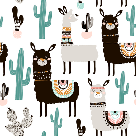 Seamless pattern with llama, cactus and hand drawn elements. Creative childish texture. Great for fabric, textile. Фото со стока - 90868058