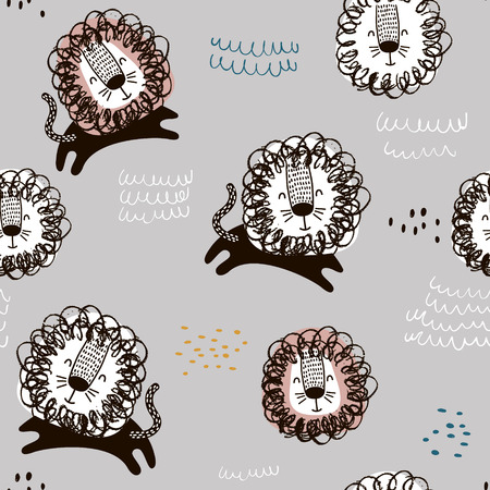 Childish seamless pattern with hand drawn lions. Trendy Scandinavian vector background. Perfect for kids apparel, fabric, textile, nursery decoration, wrapping paper.