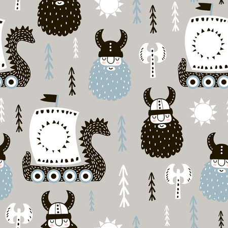 Infantil de patrones sin fisuras con vikingos. Fondo de vector escandinavo de moda. Perfecto para ropa infantil, tela, textil, decoración de guardería, papel de regalo. Foto de archivo - 90868061