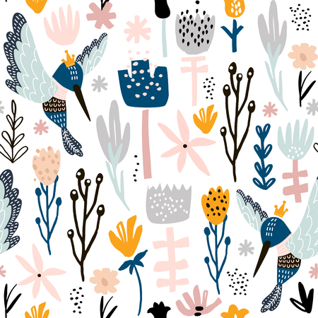 Seamless pattern with colibri and flowers. Creative botanical height detailed background. Perfect for kids apparel, fabric, textile, nursery decoration, wrapping paper.  イラスト・ベクター素材