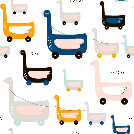 Cute duck on wheels childish pattern. Creative nursery background. Perfect for kids design, fabric, wrapping, wallpaper and more.