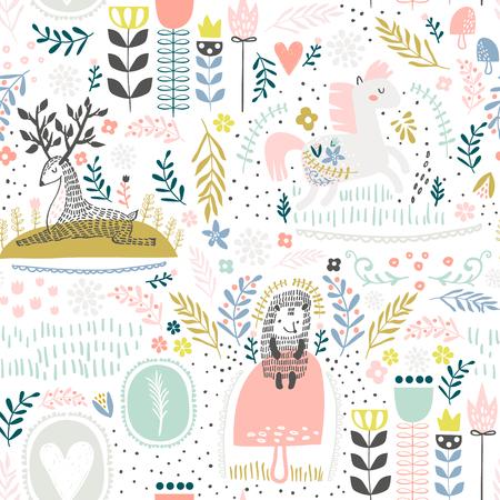 Padrão de floresta sem emenda. Altura criativa fundo detalhado. Perfeito para vestuário de crianças, tecido, têxteis, decoração de viveiro, papel de embrulho.