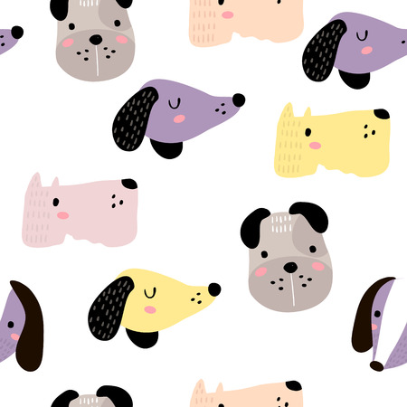Seamless childish pattern with dog animal faces. Creative nursery background. Perfect for kids design, fabric, wrapping, wallpaper, textile, apparel.  イラスト・ベクター素材