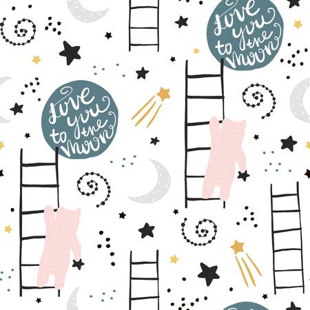 クマ、星、月とシームレスな子供っぽいパターン。ファブリック、ラッピング、テキスタイル、壁紙、アパレルのための創造的な子供のテクスチャ